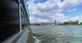 View of Brooklyn Bridge as Seen from East River Ferry Footage