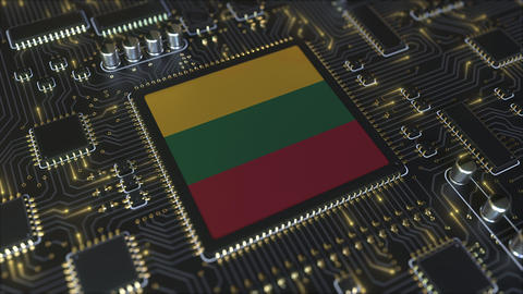 National flag of Lithuania on the operating chipset. Lithuanian information Live Action