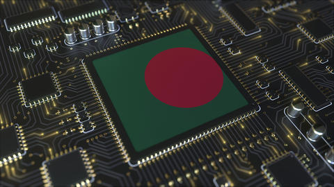 National flag of Bangladesh on the operating chipset. Bangladeshi information Live Action