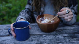 Coffee and Muesli for outdoor breakfast Live Action