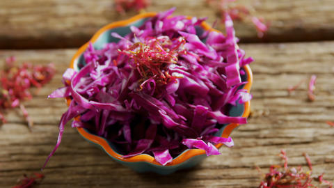 Shredded cabbage in bowl 4k Live Action