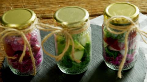 Vegetables kept in jars 4k Live Action