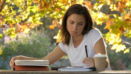 Warm autumn afternoon international student girl studying for exams essay test Footage