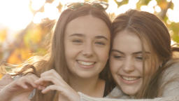 Love and affection two close young girl best friends love... Stock Video Footage
