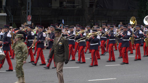 France marching band in Argentina Bicentennial independence day celebrations Footage