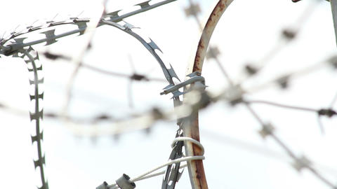Barbed wires with spikes rack focus Footage