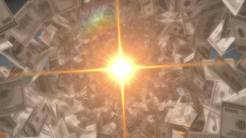 Money God. Dollar Bills and spectacular yellow flare approaching Footage