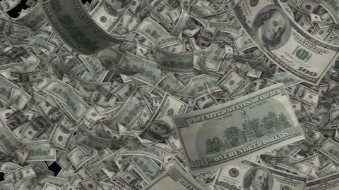 Dollar bills transition. 100 Benjamin Franklin notes fly side to side Live Action