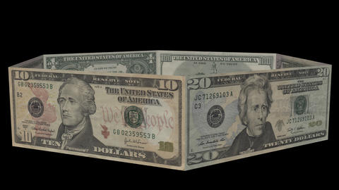 Ring of US Dollar Bills from 1 to 100. Alpha channel included Footage
