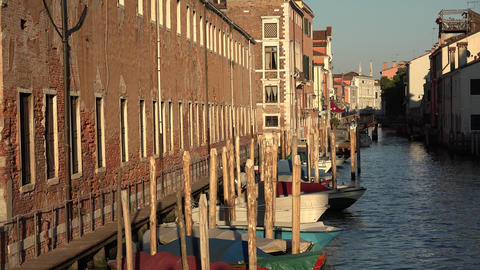 Boats In Venice Canal Footage