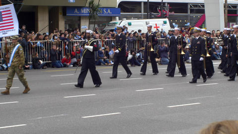 USA marching band entrance in Argentina Bicentennial independence day celebratio Footage