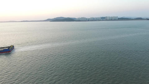 Yeongjong Island with ships Footage