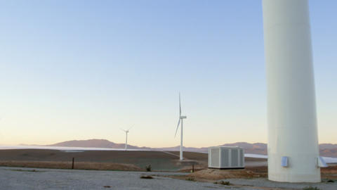 Wind turbine in the wind farm 4k Live Action