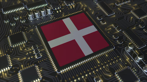 National flag of Denmark on the operating chipset. Danish information technology Live Action