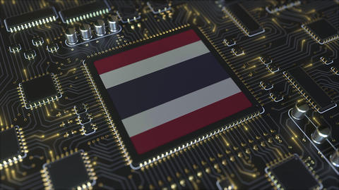 National flag of Thailand on the operating chipset. Thai information technology Live Action