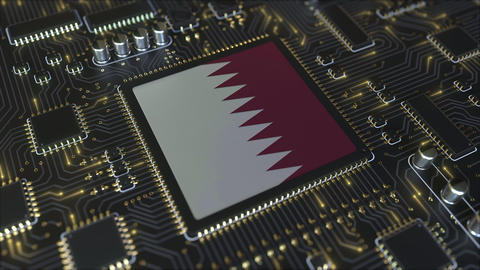 Flag of Qatar on the operating chipset. Qatari information technology or Live Action