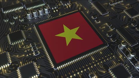 Flag of Vietnam on the operating chipset. Vietnamese information technology or Live Action