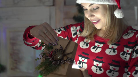 Beauty Girl Opens Christmas Gift Box With Miracle, Christmas Gift Surprise Live Action