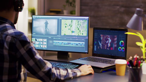 Colorist engineer using modern software for movie Live Action