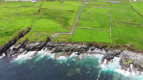 Beautiful aerial view of Valentia Island. Locations worth visiting on the Wild Live Action