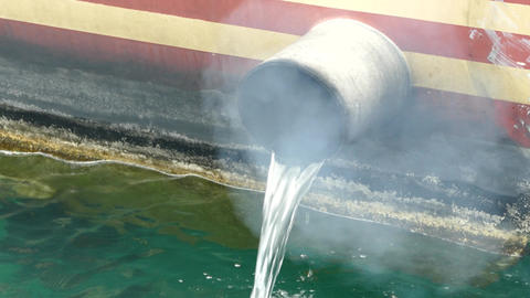 Diesel fumes from small boat Live Action