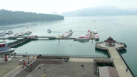 SUN MOON LAKE, TAIWAN - OCTOBER 26, 2019: Pier at Sun Moon Lake, the largest Live Action
