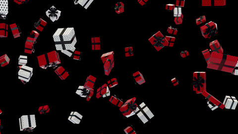 Red and White Gift falling down with alpha Animation