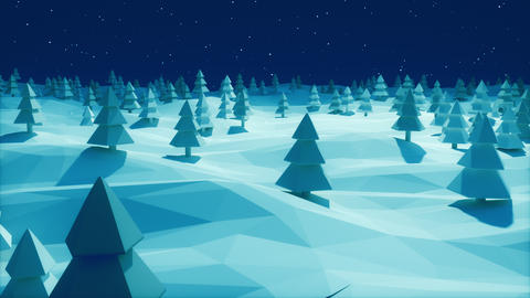 Christmas Background snowy landscape dark blue forest low poly Animation