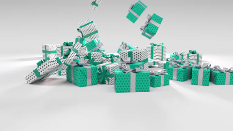 Blue green and White Chritmas Gift Falling on the ground Animation