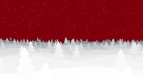 Christmas Background silhouette forest on red low poly Animation