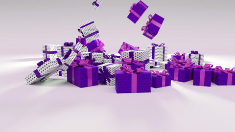 Purple and White Chritmas Gift Falling on the ground Animation