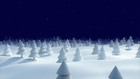 Christmas Background snowy landscape blue forest Animation