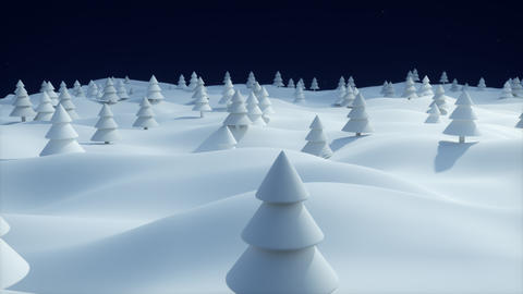 Christmas Background snowy landscape dark blue forest Animation