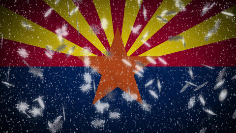 Arizona flag falling snow loopable, New Year and Christmas background, loop Animation