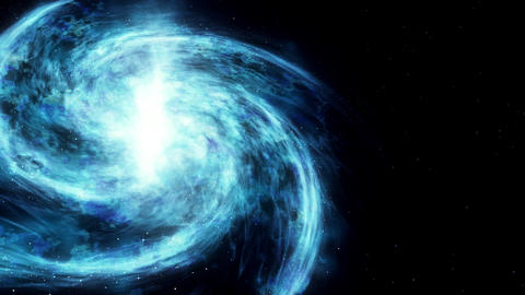 The spiral galaxy revolves around its axis. Dramatic background. 4k Animation