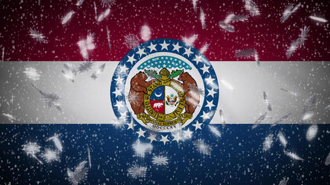 Snowfall On Background Of Flags Of USA States Loop - 2 2