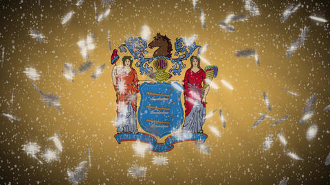 New Jersey flag falling snow, New Year and Christmas background, loop Animation