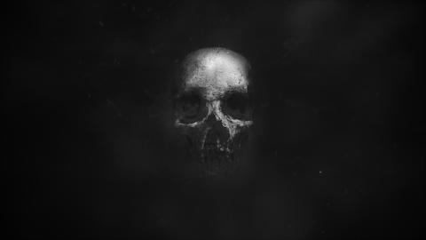 Mystical horror background with dark skull. Holiday halloween abstract backdrop Animation