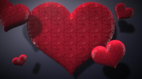 Animation closeup motion romantic hearts on Valentine's day shiny background Animation
