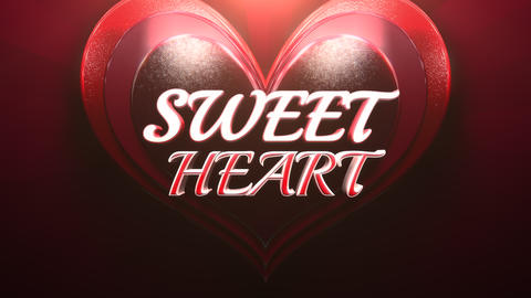Animated closeup Sweet Heart text and motion romantic heart on Valentine's day shiny background Animation