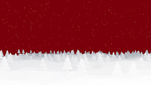 Christmas Background silhouette forest on red Animation