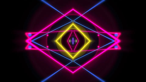 Motion colorful neon geometric shape in space, abstract background Animation