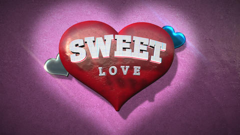 Animated closeup Sweet Love text and motion romantic heart on Valentine's day shiny background 애니메이션