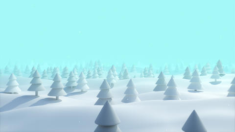 Christmas Background snowy landscape bright blue forest Animation