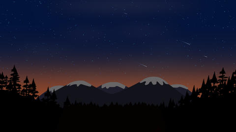 Cartoon animation background with forest and mountain, abstract backdrop Animation