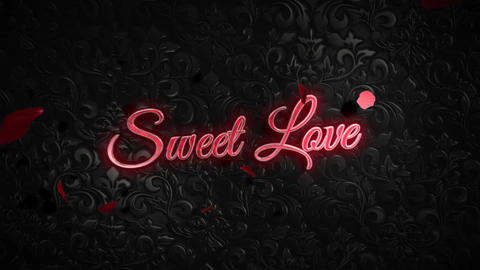 Animated closeup Sweet Love text and motion romantic heart on Valentine's day shiny background Animation