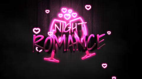 Animated closeup Night Romance text and motion romantic heart on Valentine's day shiny background 애니메이션