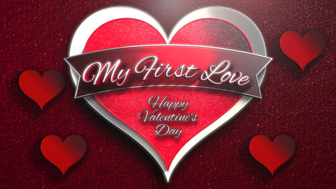 Animated closeup My First Love text and motion romantic heart on Valentine's day shiny background Animation