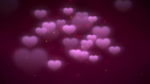 Animation closeup motion romantic hearts on Valentine's day shiny background Animation