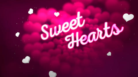 Animated closeup Sweet Hearts text and motion romantic heart on Valentine's day shiny background Animation